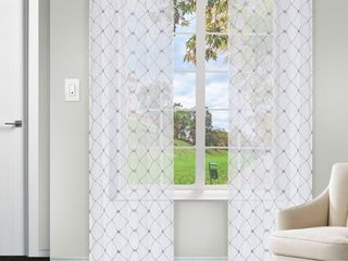 Impressions Kyrie lattice Textured Sheer Curtain Set of 2 with Grommet Header