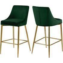 Green  Art leon Velvet Armless Swivel Barstools with Golden Steel legs Set of 2  Retail 215 99