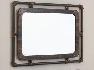 Furniture of America Revo Industrial 31 inch Metal Wall Mirror  Retail 163 49