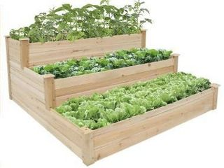 Kinbor 3 Tier Wooden Raised Garden Bed  Elevated Garden Planter Box Garden Bed Kit for Vegetable Herb Flower  Retail 77 76
