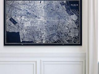 24x36  Paris Sketch Map Blue   Premium Gallery Wrapped Canvas
