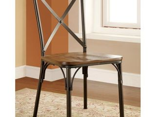 Furniture of America Tel Industrial Bronze Dining Chairs  Set of 2  Retail 180 24