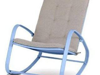 MF Studio Outdoor Patio Rocking Chair Padded Steel Rocker Chairs Blue