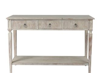 White Washed Wood Three Drawer Console Table  Retail 217 49