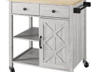 Wood   Barn Door Off White Kitchen Cart  Retail 201 49