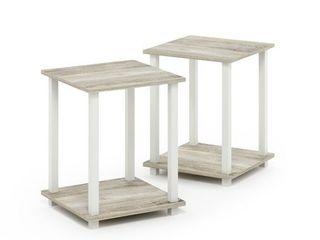 Furinno Simplistic End Table  Set of Two  Columbia Walnut Black  Sonoma Oak White
