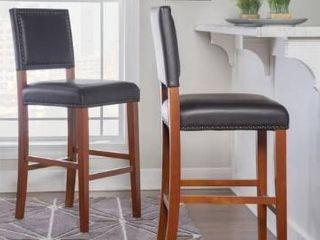 1 Copper Grove Durlesti Counter Stool with Black Fabric Upholstery and Bronze Nailhead Trim  Retail 111 49