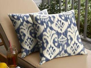 Set of 2  Marineland Indigo  Cream Indoor  Outdoor Knife Edge Pillow Set by Havenside Home