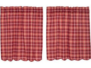 lot of 7 Apple Red Rustic   lodge Kitchen Curtains Braxton Rod Pocket Cotton Plaid 36x36 Tier Pair