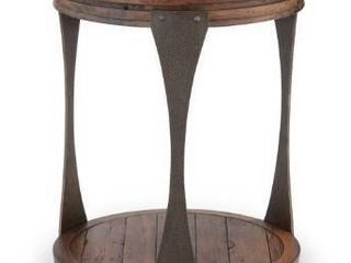 Montgomery Industrial Bourbon Reclaimed Wood Round Accent Table  Retail 377 49