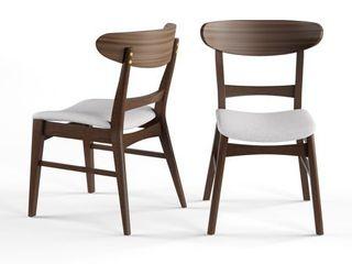 light Beige Walnut  Carson Carrington Ballerup Mid century Fabric Dining Chair  Set of 2  Retail 149 99