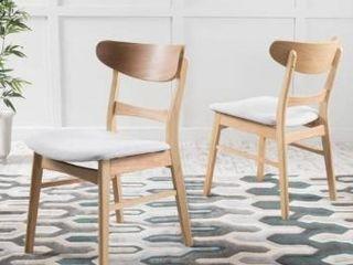 Natural Oak   light Beige  Carson Carrington Ballerup set of 2 Dining Chairs