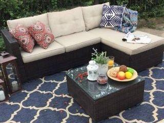 PHI VIllA 3 Piece Patio Furniture Set Rattan Sectional Sofa Furniture  Retail 520 74