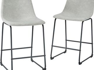 26  Faux leather Counter Stool  Set of 2   Grey