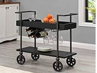 FirsTime   Co  Black Factory Row Industrial Bar Cart