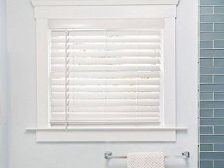 Chicology Basic Collection White Cordless Room Darkening Fauxwood Blind with 2 in  Slats 23 in  W x 72 in  l  Basic White
