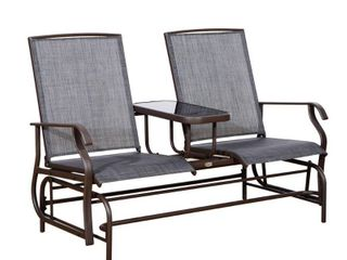 Outsunny Two Person Outdoor Mesh Fabric Patio Double Glider Chair with Center Table  Retail 249 99