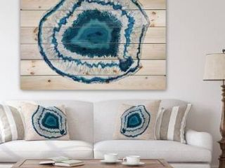 Designart Blue Agate Abstract Crystal Print on Natural Pine wood
