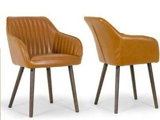 Altura Caramel Brown Faux leather Arm Chairs set of 2