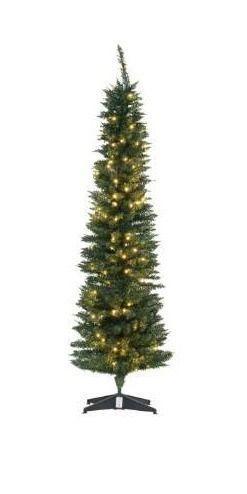 6  PVC Prelit Slim Pencil Noble Artificial Christmas Tree