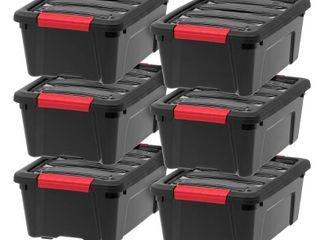 IRIS 12 Quart Stack   Pull Box  6 Pack  Black