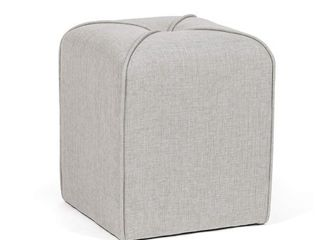Homebeez Modern Simple Cushioned Ottoman Cube Footrest  Grey