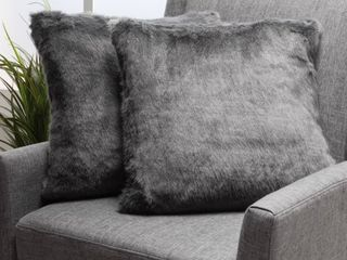 Elise Modern Glam Faux Fur Throw Pillows  Set of 2  by Christopher Knight Home