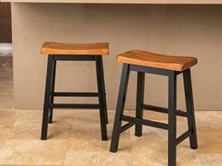 Pomeroy 24 inch Saddle Wood Counter Stool  Set of 2  by Christopher Knight Home  Retail 106 49