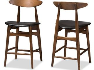 Set of 2 Baxton Studio Flora Mid Century Modern Walnut Finished Wood Faux leather Upholstered Counter Stools Black  Black Brown
