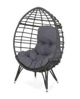 Stanton outdoor wicker teardrop chair dark gray