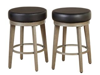 angelo HOME linden Faux leather  Brushed Metal Swivel Stool  Set of 4  Retail 364 50