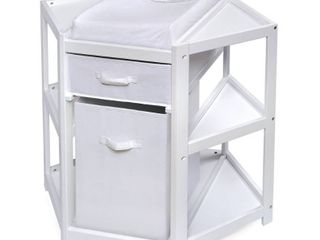 Badger Basket Diaper Corner Baby Changing Table with Hamper and Basket  White  Includes Pad