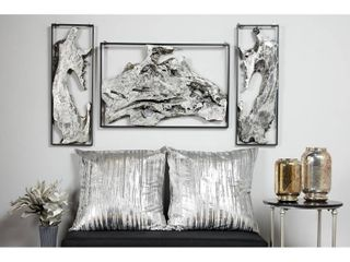 2 end pieces only Contemporary Abstract Art Silver Metal Wall Decor in Black Frames Set of 2  Retail 123 99