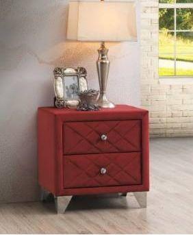 Vegas velvet quilted nightstand maroon