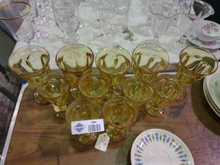 lot of 11 Yellow Drinking Glasses