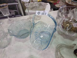 lot of 2 Pieces of Decorative Blue Glassware