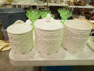 lot of White Ceramic Kitchen Canisters