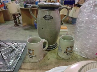 lot of 3 Pieces of Pottery  2 Mugs and a Vase