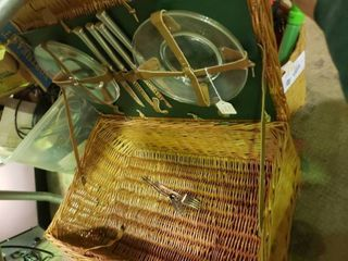 Wicker Picnic Basket With Plates and Silverware