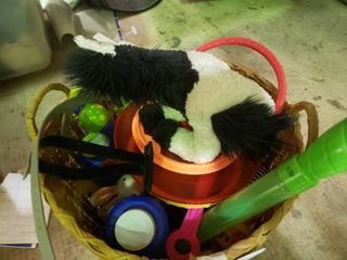 Wicker Basket of Various Toys