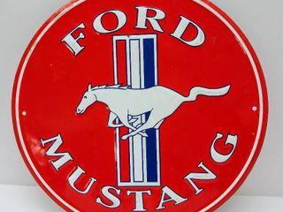 Round Metal Ford Mustang Sign