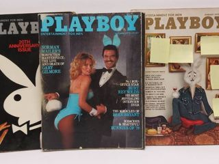 lot of 3 1970 s Playboy Magazines   1974 20th Anniversary Issue  Oct 1979   Jan 1975 Holiday Issue