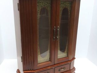Wooden Jewelry Box With Necklace Holders   Drawer   16 75  Tall
