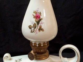 Vintage Aladdin Mini Oil lamp w Finger Handle   Porcelain Base   Shade  Rose Design   Japan