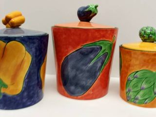 ClAY ART Colorful  TOSCANO  2001   Hand Painted Kitchen Jar Canister   3 Piece Set Set