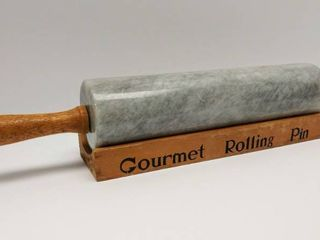 Vintage Gormet Marble Rolling Pin w Cradle   18  long   Nearly 5 lbs