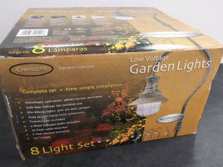8 light Set   low Voltage Garden lights from Chandler Signature Collection   Box was Sealed  Appears Complete   Not Used
