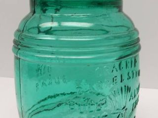 Green Glass 8  Tall Canister w Wire   Glass lid  1 5 quart     Cracker Barrel Style