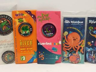 5 Wichita River Festival Buttons in Original Packaging from 2000  05  06  2013    2014