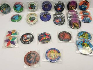 32 Vintage Wichita River Festival Buttons   Most in Plastic Protective Covers